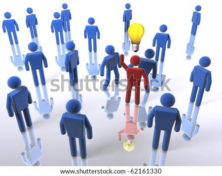 Stand out from the crowd with an idea - stock photo