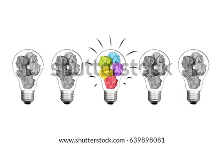 Stand out of crowd lightbulb and colorful paper crumpled  isolated on white background  idea business innovate achievement growth success concept object design