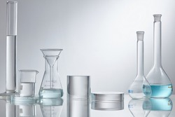 Stand to show glass cosmetic product. Research and develop beauty skincare product concept by scientific method with concept laboratory tests