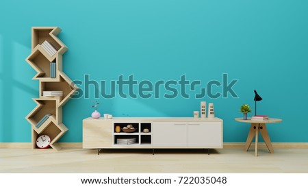 Stand TV in modern empty room blue wall. 3d rendering