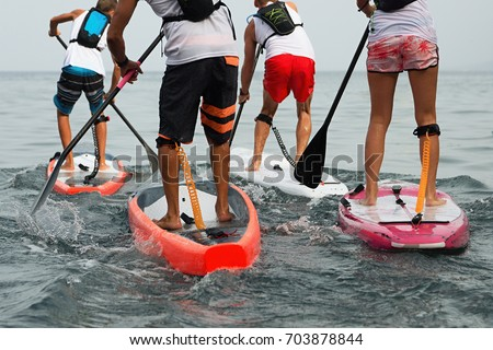 Stand up paddle group on the sea Stock photo ©