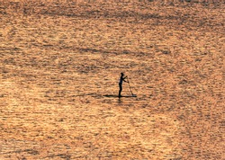 Stand Up Paddling: Silhouette of a young sporty woman in the golden evening light shortly after sunset while paddling alone on the water