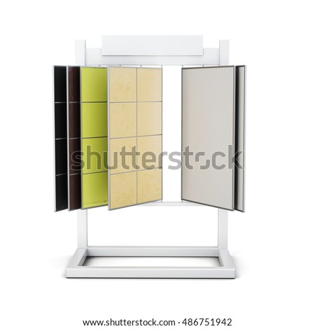 Stand with samples of ceramic tiles on a white background. 3d rendering.