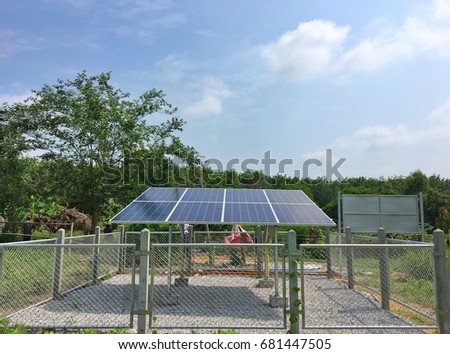 Standalone power system From solar power concept energy off grid. #681447505