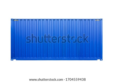 Standard blue cargo container isolated on white background, side view. Modern industrial shipping equipment