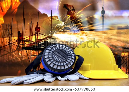 Standard construction safety and construction site background . Safety  concept .