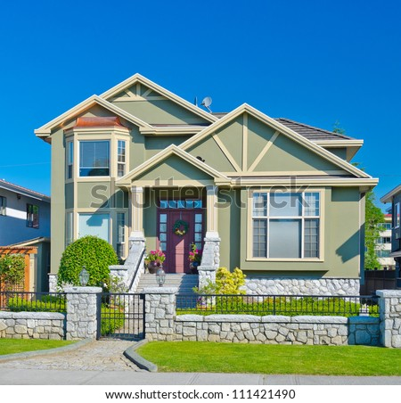 Standard middle class house in a residential neighborhood. Vancouver Canada.