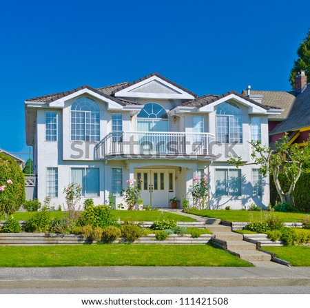 Standard middle class house in a residential neighborhood. Vancouver Canada. - stock photo