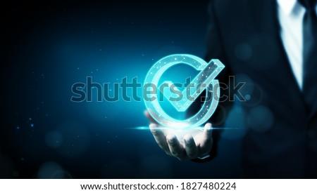 Standard quality control certification assurance guarantee. Concept of internet business technology digital Photo stock ©