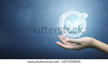 Standard quality control certification assurance guarantee. Concept of internet business technology digital