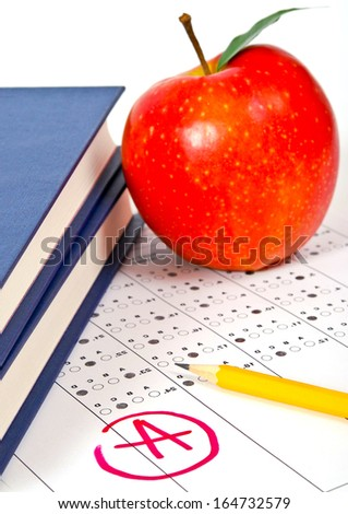 Standardized quiz or test score sheet with multiple choice answers