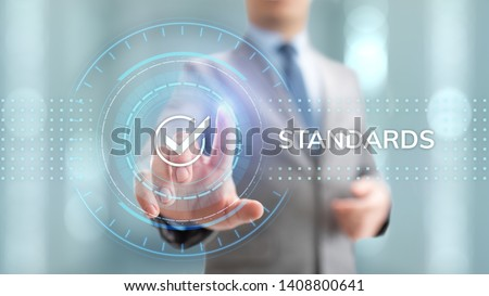 Standards quality Assurance control standardisation and certification concept. #1408800641