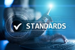 Standards, Quality Control, Assurance, ISO, Checkbox on virtual screen.