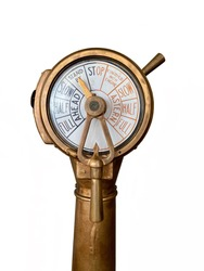 Standby wait and see for business concept: Vintage ship engine order telegraph, a tool used to communicate between navigation bridge and engine room to change the speed of a ship. Isolated telegraph.
