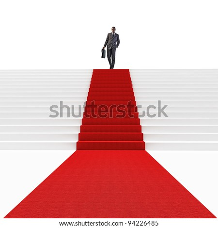 standing black man on 3d stair with red carpet