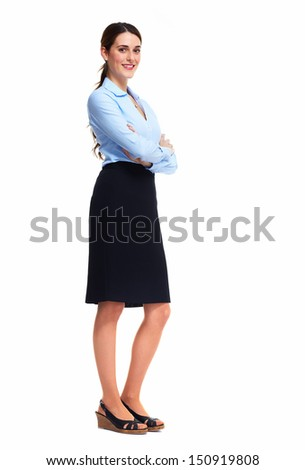 Standing business woman. Isolated over white background.