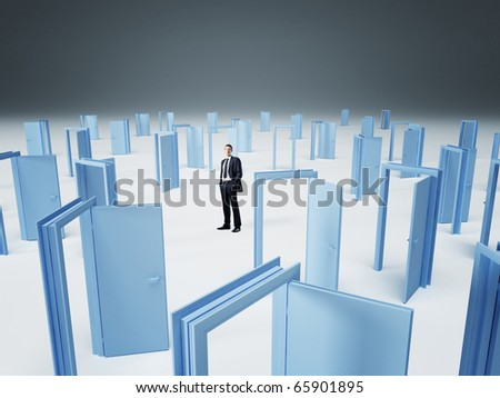 standing businessman and 3d doors background