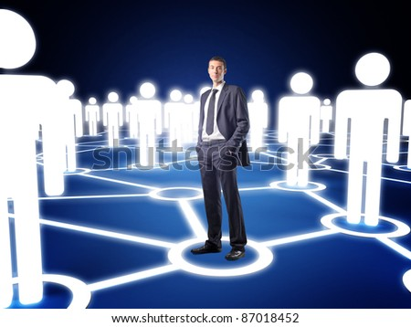 standing businessman and virtual community