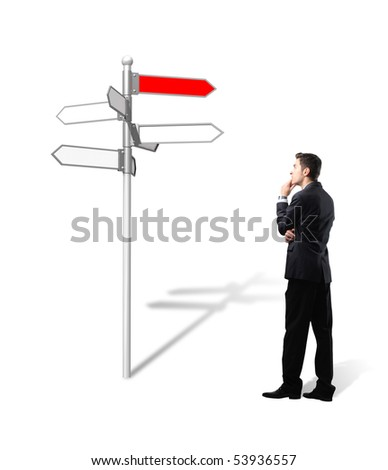 standing businessman think which way is the  best for his business