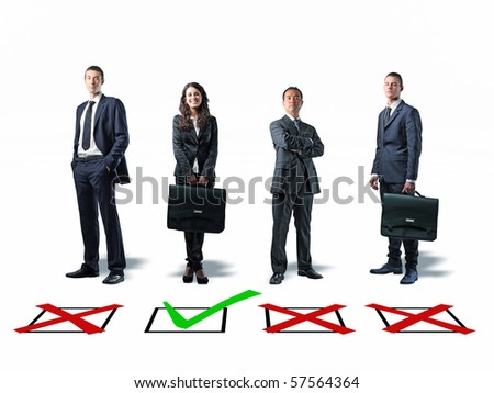 standing businesspeople and classic checkmark on white - stock photo