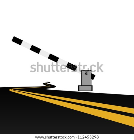 Standing by the road barrier. The illustration on a white background.
