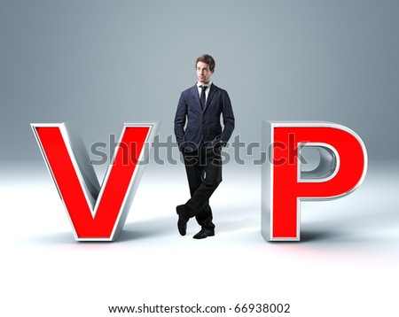 standing caucasian man and 3d vip text