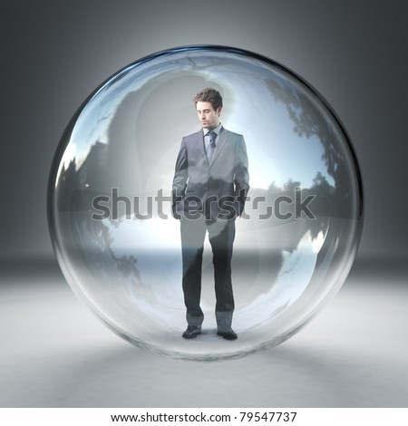standing caucasian man in  3d glass sphere