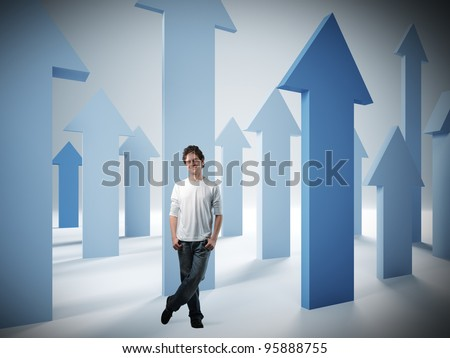 standing confident man and 3d arrows