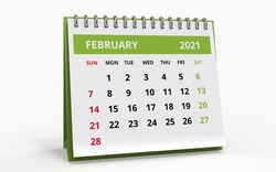 Standing Desk Calendar February 2021. Business monthly calendar with metal spiral-bound, the week starts on Sunday. Monthly Pages with green title, isolated on white background, 3d render