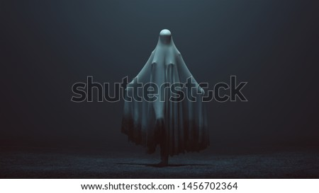 Standing Evil Spirit Ghost with one Knee Raised and Arms Out in a Death Shroud in a Foggy Void Front View 3d Illustration 3d Rendering Сток-фото ©
