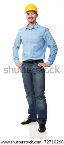 standing friendly engineer isolated on white background - stock photo