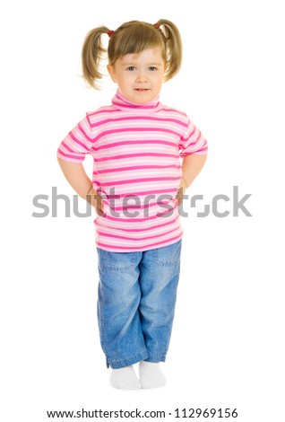 Standing funny little girl isolated