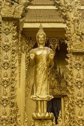 Standing golden Buddha Statue at Wat Paknam Jolo,Bangkhla,Chachoengsao Province,Thailand