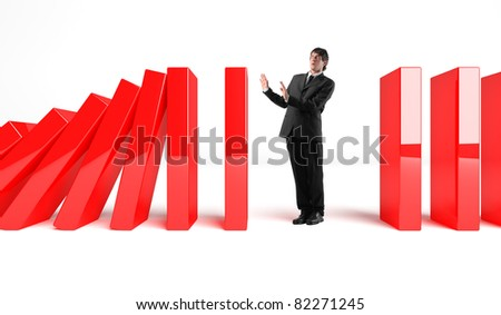 standing man ad 3d falling piece - stock photo