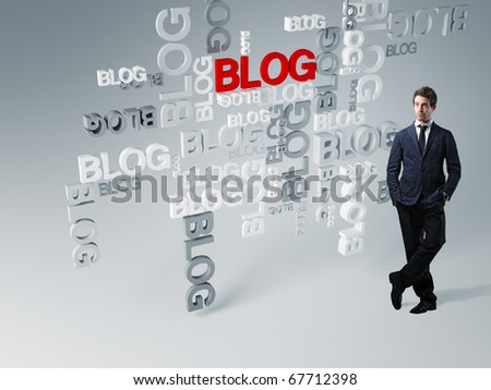 standing man and 3d blog abstract background