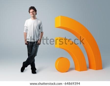 standing man and 3d rss symbol