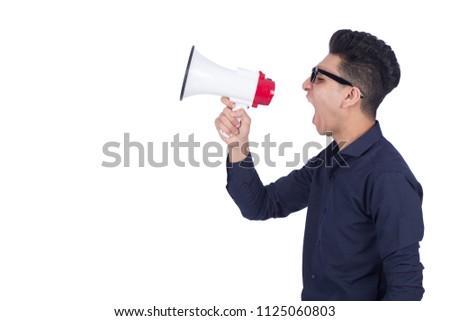 9678a8528abe7 Man with glasses shouting by megaphone Images and Stock Photos ...