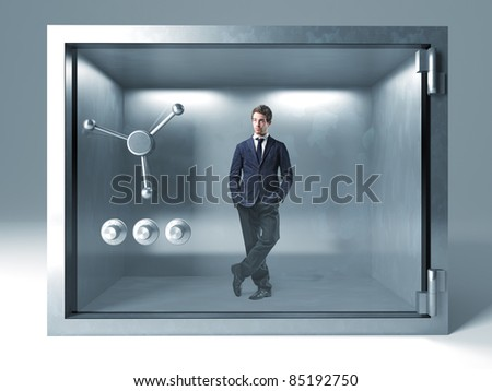 standing man in metal safe box