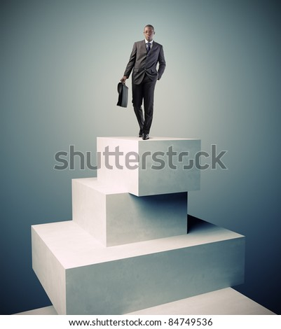 standing man on 3d concrete boxes