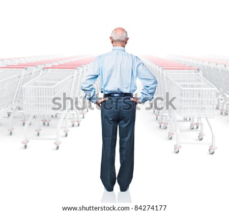 standing man rear view and 3d trolley - stock photo