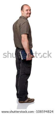 standing man with book isolated on white background