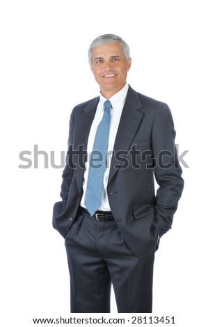 Standing Middle Aged  Businessman with hands in pockets isolated on white