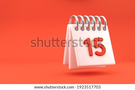 Standing month lined spring desk calendar with date. Modern design, 3d rendering. Bright red background.