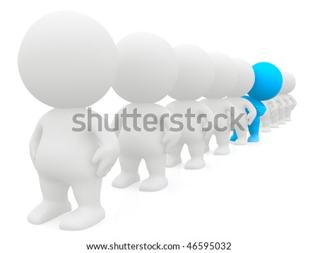 standing out 3D man peeking in line - isolated over a white background