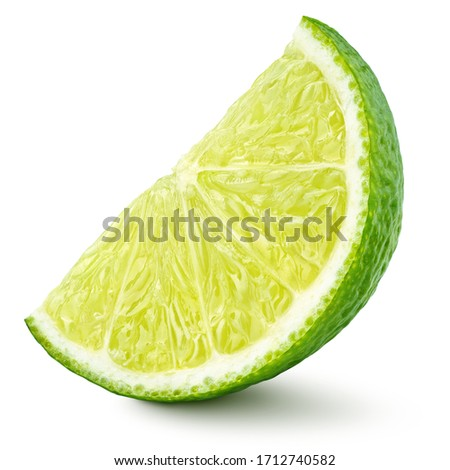 Standing ripe slice of lime citrus fruit isolated on white background with clipping path. Full depth of field. Foto d'archivio ©