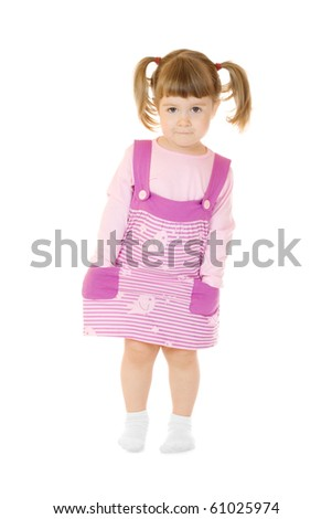 Standing serious little girl isolated
