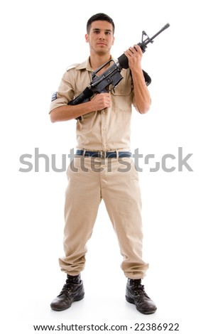 standing soldier posing with gun against white background