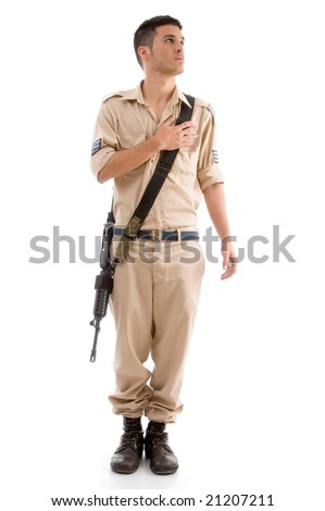standing soldier with gun putting hand on his chest with white background