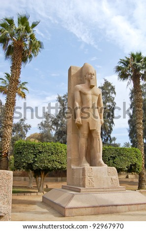 Standing statue of Ramses II in open air museum of Memphis, Egypt