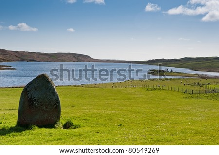 Standing stone near Loch Finlaggan, centre of the Lordship of the Isles